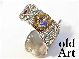 アンティークフリーメイソンテンプル騎士団シルバー製10金無垢装飾スプーンリング指輪18号【M-11521】