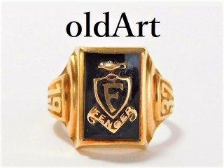 1937年代USAビンテージWS社製10金無垢オニキスカレッジリング指輪8号10Kゴールド【M-11553】
