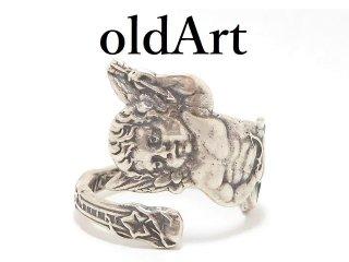 アンティーク天使エンジェル繊細彫刻シルバー製スプーンリング指輪15号【M-11559】