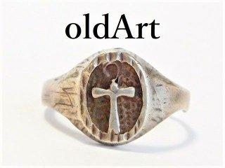 ビンテージキリスト十字架クロスシルバー製レディースピンキーリング指輪5号【M-10383】