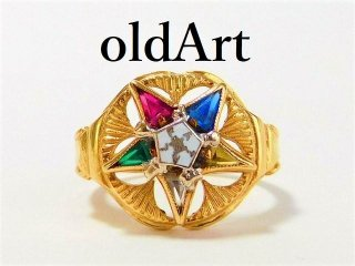 箱付きビンテージフリーメイソン逆五芒星10金無垢リング指輪9.5号10Kゴールド【M-11586】