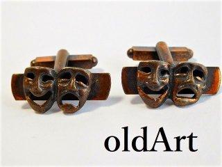 ヴィンテージ1960年代ツーフェイスTWOFACE泣き笑い銅製カフスロカビリー【M-11606】
