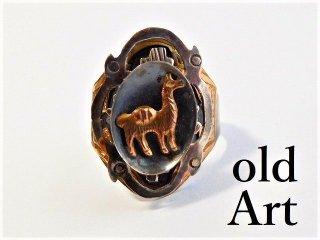 ビンテージMEXICOメキシコ製リング18K装飾シルバー925製リング指輪17号アジャスター式【M-10116】