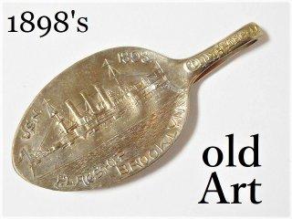 アンティーク1898年代USAブルックリンUSNシルバースプーンマネークリップ【M-11632】