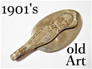 アンティーク1901年代当時物USAネイティブアメリカンシルバースプーンマネークリップ【M-11660】