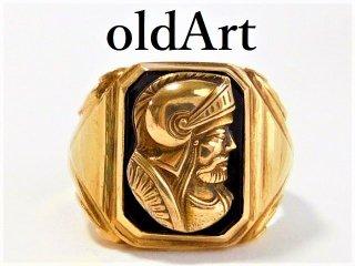 ヴィンテージローマ神話マルス騎士カメオ彫刻10金無垢リング指輪21.5号10Kゴールド【M-11657】