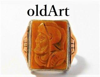 1930年代アンティークローマ神話マルスカメオタイガーアイ彫刻10K×STERLINGシルバー製メンズリング指輪19号【M-11659】