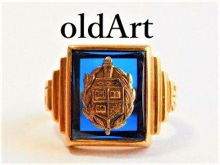 1940年代USAビンテージS. Kind&Sons Co.10金無垢カレッジリング指輪12号10Kゴールド【M-11655】