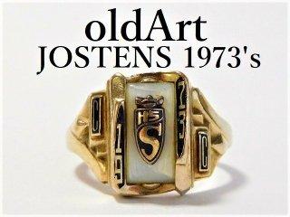 1973年代USAヴィンテージJOSTENSジャスティン社製10金無垢マザーオブパールカレッジリング指輪11号【M-11651】