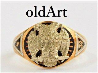 アンティーク1930'sフリーメイソン32階位双頭鷲OSTBY&BARTON社製本物の10金無垢レディースリング指輪7.5号10Kゴールド【M-11672】