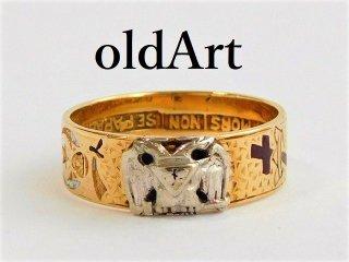 1940年代フリーメイソン32階位テンプル騎士団14金無垢ヴィンテージリング指輪19.5号14Kゴールド【M-11673】