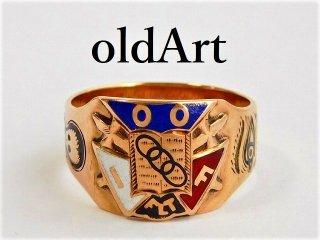 アンティーク1914年代オッドフェローズOB社製友愛プロビデンスの目本物の10金無垢メンズリング指輪24.5号【M-11674】