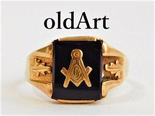 ビンテージ1950年代フリーメイソン本物10金無垢オニキスメンズリング指輪30号10Kゴールド【M-11675】