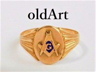ビンテージ1930年代フリーメイソン本物の10金無垢メンズリング指輪17号10Kゴールド【M-11680】