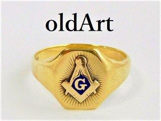 ビンテージ1930年代フリーメイソン本物の10金無垢メンズリング指輪22.5号10Kゴールド【M-11679】