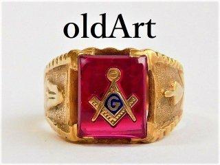 ビンテージ1950年代フリーメイソン10金無垢ルビーメンズリング指輪25.5号10Kゴールド【M-11676】