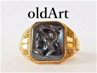 ヴィンテージローマ神話マルス騎士インタリオヘマタイト彫刻10金無垢ゴールドリング指輪24号【M-11729】