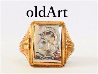 1930年代アンティークO&B社製ローマ神話マルス騎士インタリオ彫刻10金×STERLINGシルバー製メンズリング指輪18号【M-11730】