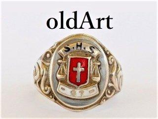 1967年代USAビンテージ十字架クロスカトリックシルバー製STERLINGカレッジリング指輪15号【M-11732】