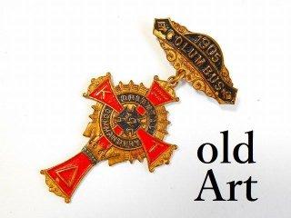 1905年アンティークフリーメイソンテンプル騎士団勲章十字架バッジ徽章【M-11755】