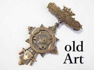 1895年アンティークフリーメイソンテンプル騎士団勲章十字架バッジ徽章【M-11757】