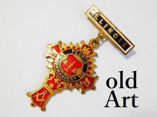 1900年代初期アンティークフリーメイソンテンプル騎士団勲章十字架バッジ徽章【M-11762】