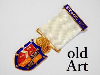 英国製1976年代ヴィンテージフリーメイソンオフィシャル勲章バッジ【M-11777】