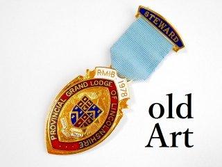 英国製1978年代ヴィンテージフリーメイソンオフィシャル勲章バッジ【M-11778】
