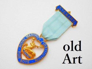 英国製1974年代ヴィンテージフリーメイソンオフィシャル勲章バッジ【M-11779】