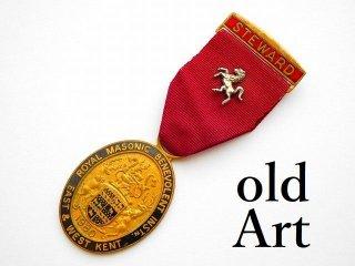 英国製1980年代ヴィンテージフリーメイソンオフィシャル勲章バッジ【M-11783】