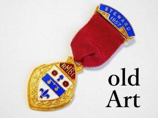 英国製1957年代ヴィンテージフリーメイソンオフィシャル勲章バッジ【M-11806】