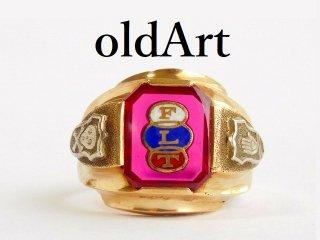 ビンテージ1950年代オッドフェローズFLTスカル10金無垢ルビーメンズリング指輪20.5号【M-11813】