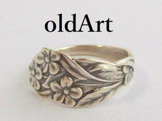 アンティーク1900年代初頭Flower花シルバー銀製スプーンリング指輪14.5号【M-11849】