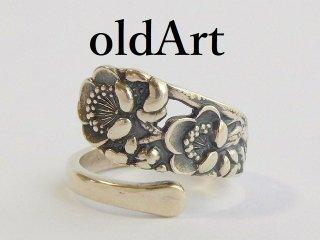 アンティークFlower花シルバー950銀製スプーンリング指輪16号【M-11851】