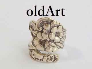 アンティーク1900年代初頭Flower花シルバー銀製スプーンリング指輪14.5号【M-11853】