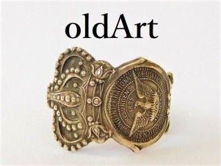 アンティーク1895年代ATLANTA王冠クラウン重厚シルバー銀製メンズスプーンリング指輪21.5号【M-11946】