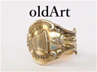 アンティーク自由の鐘LIBERTY BELL重厚シルバー銀製メンズスプーンリング指輪25.5号【M-11947】