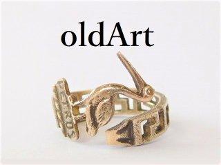 アンティークギリシャミコノス島ペリカン透かし彫刻シルバー800銀製スプーンリング指輪14.5号【M-11954】