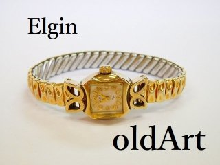 ビンテージ1940-50年代ELGINエルジン手巻き式レディース腕時計金張りドレスウォッチアンティーク19石【M-11987】