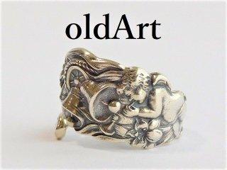 アンティーク1900年代初頭天使エンジェル繊細彫刻シルバー製スプーンリング指輪14号【M-12028】