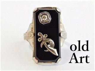 アンティーク1920年代フリーメイソン14金無垢ダイヤモンド繊細彫刻レディースリング指輪10号14Kホワイトゴールド【M-12031】