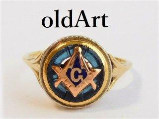 アンティーク1920年代フリーメイソン10金無垢アールデコ繊細彫刻レディースリング指輪10号10Kゴールド【M-12032】
