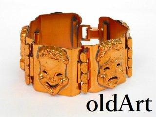 ビンテージ1950年代ツーフェイスTWOFACE銅製ブレスレットロカビリー 【M-12044】