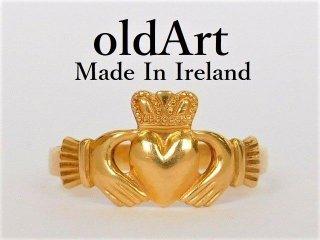 美品アイルランド製伝統的な指輪クラダリング14金無垢18号ホールマーク14Kゴールド刻印【M-12036】