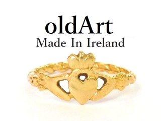 アイルランド製伝統的な指輪クラダリング14金無垢4.5号ホールマーク14Kゴールド刻印【M-12039】