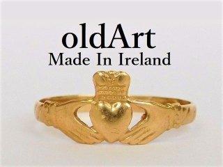 アイルランド製伝統的な指輪クラダリング9金無垢11.5号ホールマーク9ct9Kゴールド刻印【M-12038】