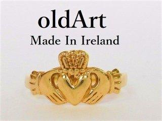 アイルランド製伝統的な指輪クラダリング9金無垢7号ホールマーク9ct9Kゴールド刻印【M-12037】