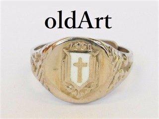 USAビンテージ十字架レッドクロスSTERLINGシルバー製カレッジリング指輪アジャスター式【M-12059】
