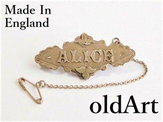 英国製アンティーク1899年代アールデコ純銀ピンブローチALICEアリス【M-12040】