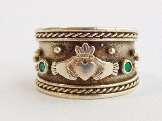 アイルランド製伝統的クラダリングスターリングシルバー製指輪13号【M-11862】